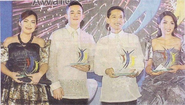 "Top Mabuhay awardees: ""Heart of the House"" winner Ma. Elizabeth Nicole B. Chico, sales coordinator of Dusit Thani Hotel Manila; ""Front of the House"" winner Ramil C. Buena, Diamond Service Center coordinator of Diamond Hotel Philippines; ""Supervisor"" winner Jose Jessie C. Adalia, assistant manager for Sofitel's Spiral Restaurant; ""Manager"" winner Cynthia Esteban Sofitel's director of conference and events"