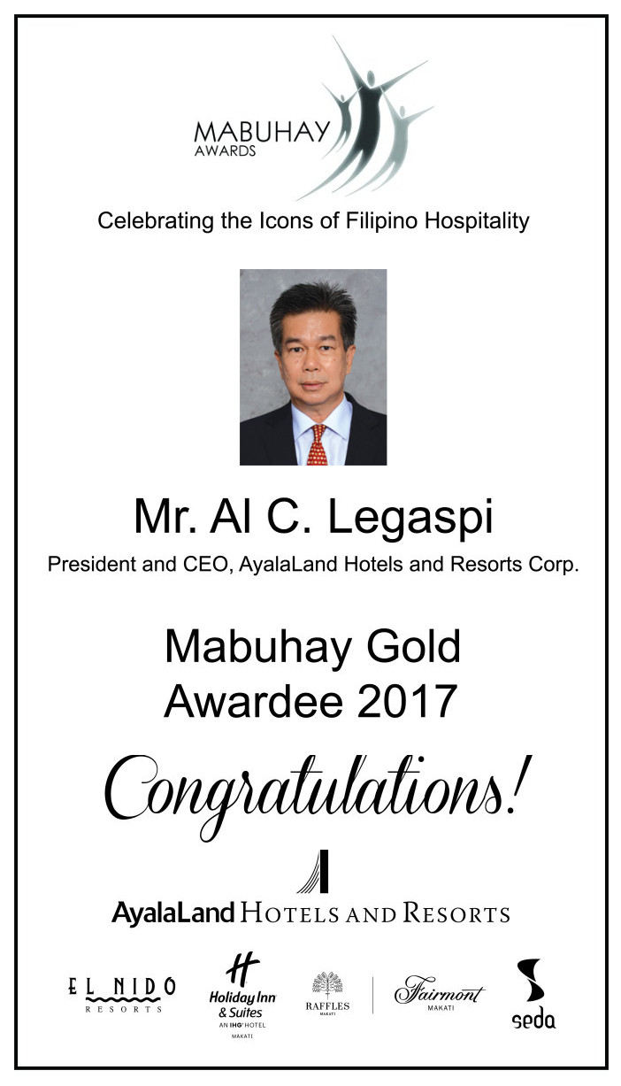 Congratulations to the 22nd Mabuhay Gold Awardee (2017) Mr. Al C. Legaspi!